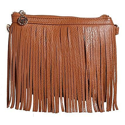 Lino Perros Brown Fringe Sling Bag: Accessories