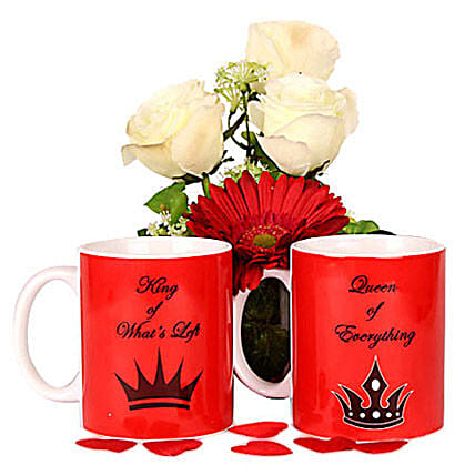 Love Is Fun Couple Mugs: Artificial Flowers
