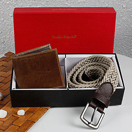Paradigm Woven Belt N Wallet Combo: Handbags and Wallets Gifts