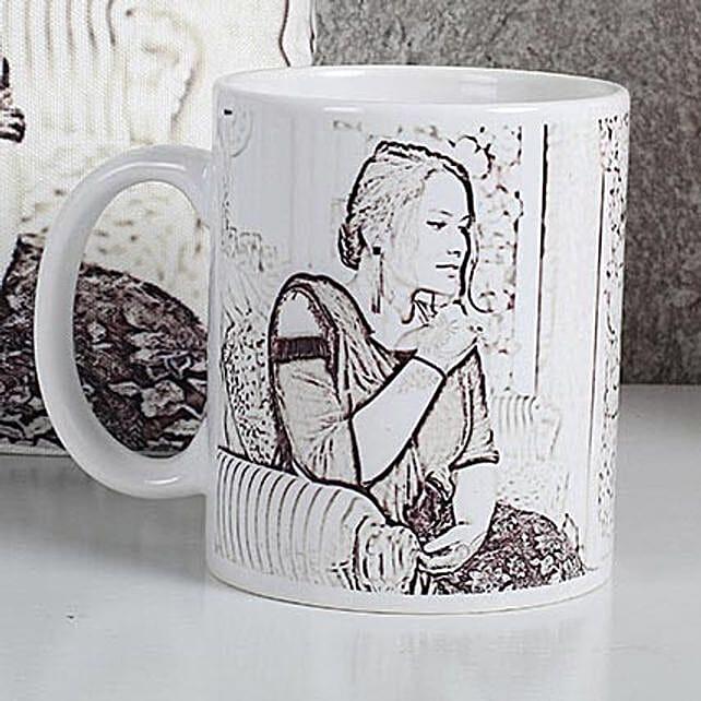 Personalized Sketch Mug: Friendship Day Personalised Mugs