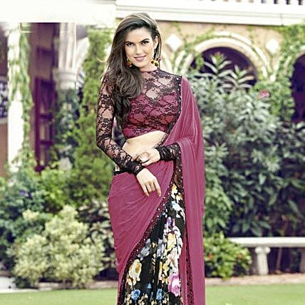 Pink and Black Festive Printed Saree: