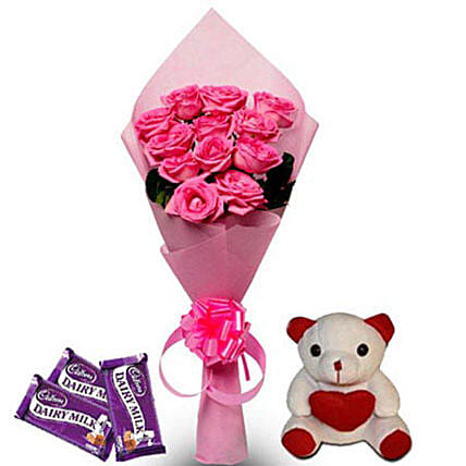 Pretty Pink hamper: Send Roses And Teddies