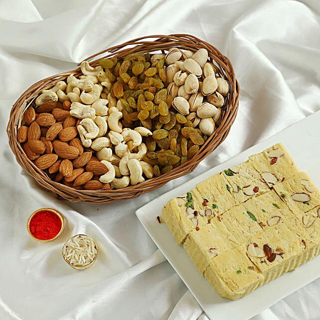 Soan Papdi N Dry Fruits Hamper: Bhai Dooj Gift Baskets