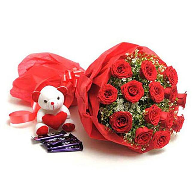 Sweet Romance- Rose Bouquet, Teddy & Dairy Milk: Flowers & Teddy Bears for Anniversary
