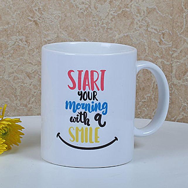 White Ceramic Smiley Mug: Buy Coffee Mugs