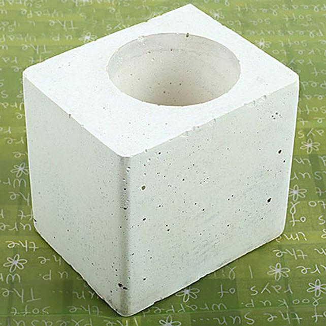 White Square Concrete Planter: Pots and Planters