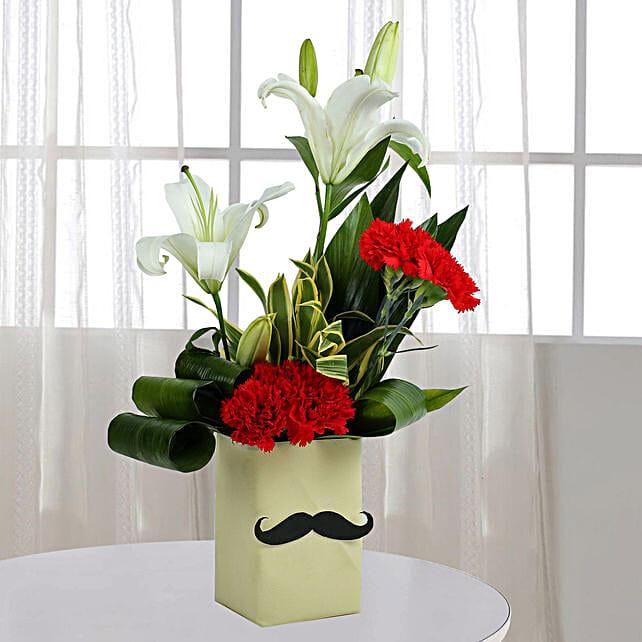 Red Carnation N Leaves Arrangement: Diwali Gifts for Husband