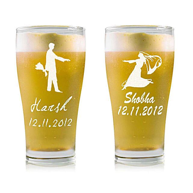 Personalised Set Of 2 Beer Glasses 2211: Bar Accessories