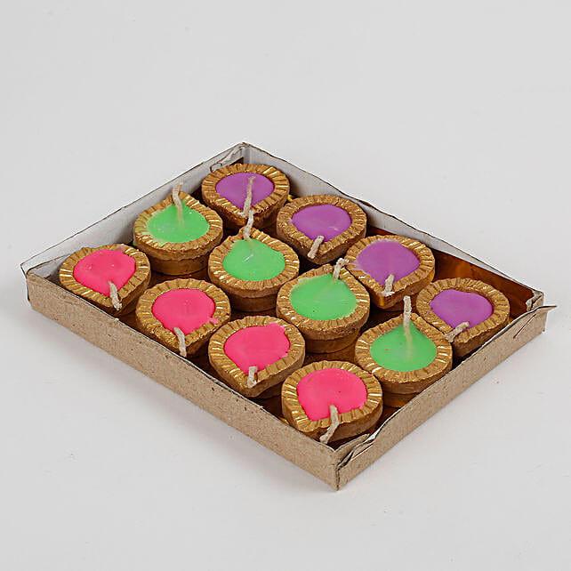Colourful Wax Terracotta Diya Set 12 Pcs: Send Diyas