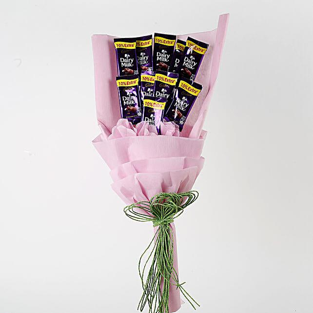 Dairy Milk Chocolates Pink Paper Bouquet: