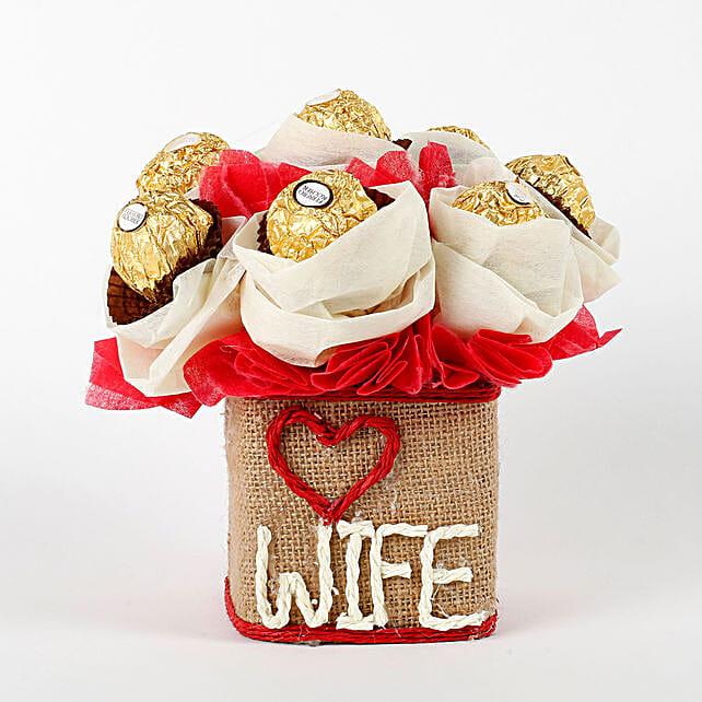 Love Wife Ferrero Rocher Chocolates Vase Arrangement: Ferrero Rocher Chocolates