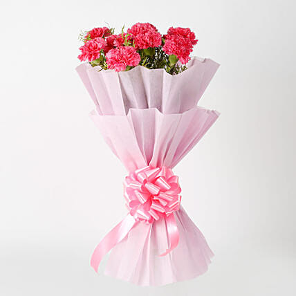 Passionate Pink Carnations Bouquet: Mothers Day Gifts to Kolkata