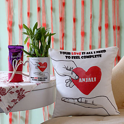 2 Layer Bamboo Plant with Cushion & Dairy Milk Silk: Personalised Pot plants