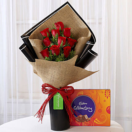 10 Red Roses & Cadbury Celebrations Combo: Flowers & Chocolates for Birthday