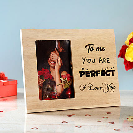 You Are Perfect Engraved Wooden Photo Frame: Personalised Engraved