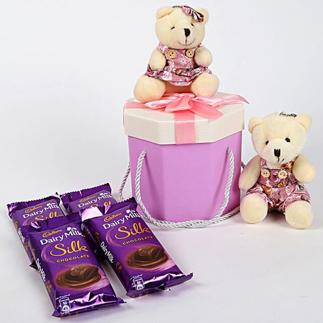 Dairy Milk Silk & Teddy Bear Gift Box: