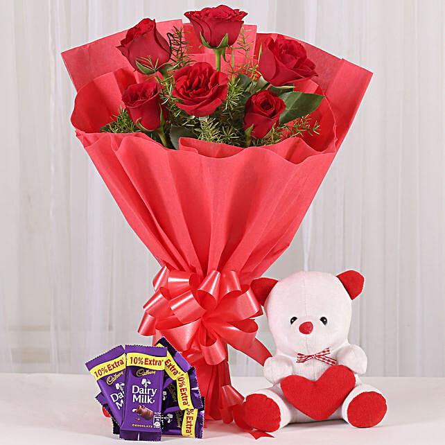 Rosy Love Affair- Teddy Bear & Chocolates: Flowers & Teddy Bears for Anniversary