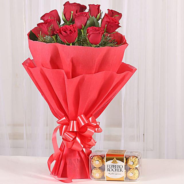 Red Roses & Ferrero Rocher Combo: Chocolate Combos