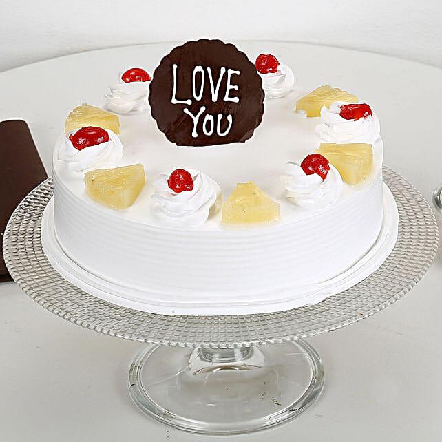 Love You Valentine Pineapple Cake: Eggless Cakes