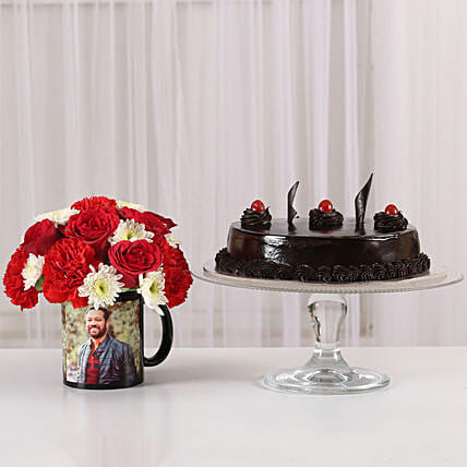 Mixed Flowers Photo Mug & Truffle Cake: Custom Photo Coffee Mugs