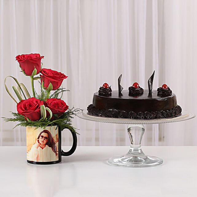 Red Roses Mug & Truffle Cake Combo: Personalised Mugs