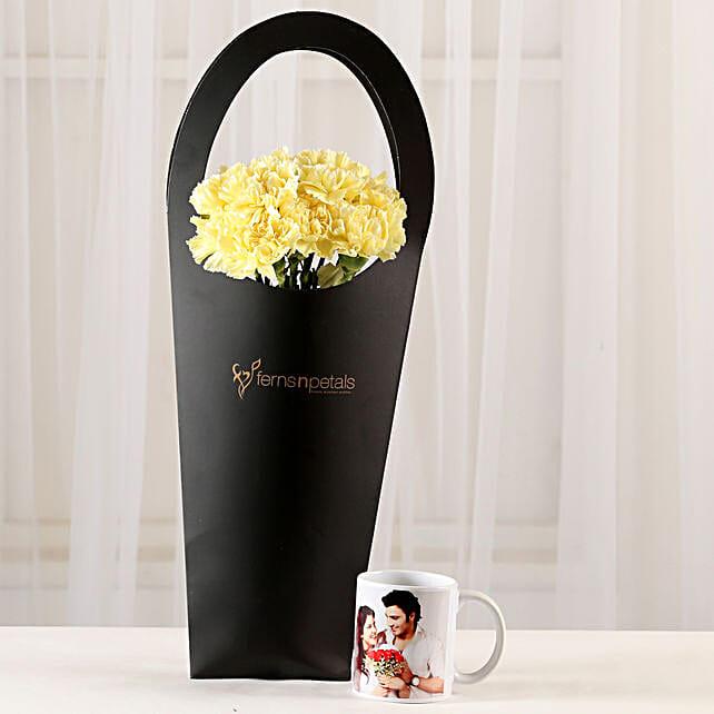 10 Yellow Carnations & Personalised Mug Combo: Personalised Mugs