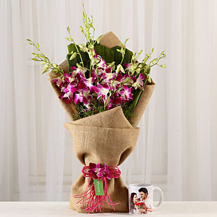 Purple Orchids Bunch & Personalised Mug Combo: Personalised Mugs