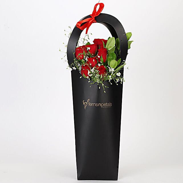 Ravishing Red Roses in Black Sleeve: Send Flowers In Sleeve