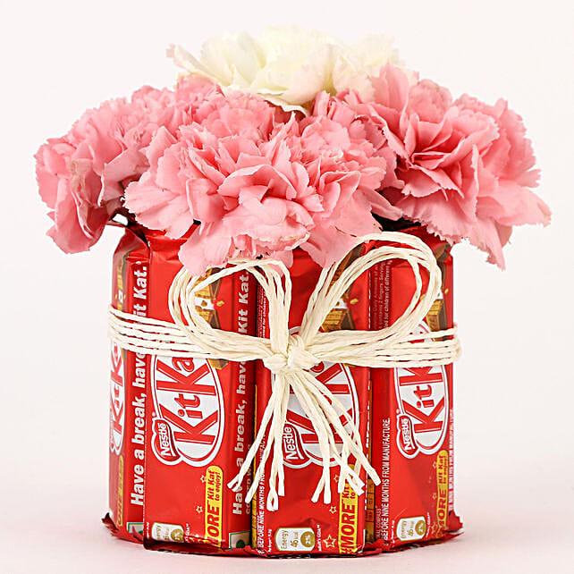 Carnations & Kit Kat Glass Arrangement: Send Chocolate Bouquet