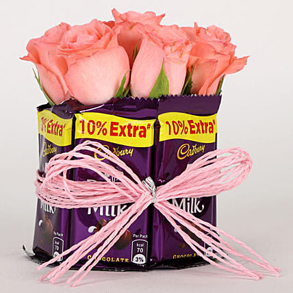 Dairy Milk & Pink Roses Arrangement: Cadbury Chocolates