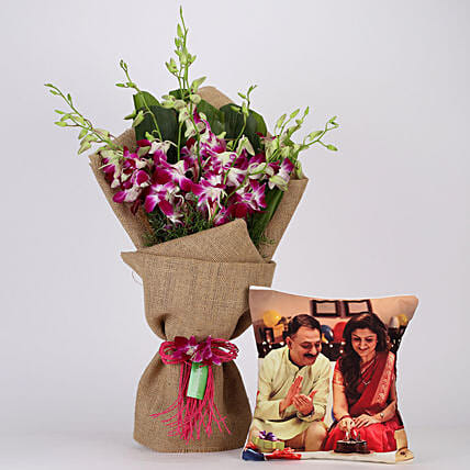Purple Orchids Bunch & Personalised Cushion Combo: Fathers Day Cushion