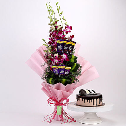 Purple Orchids Posy & Chocolate Cake: Cadbury Chocolates