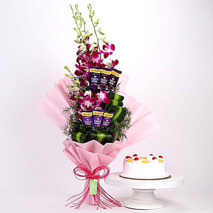 Purple Orchids Posy & Pineapple Cake: Cadbury Chocolates