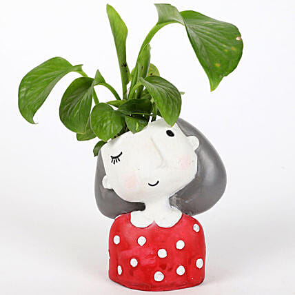 Money Plant In Winking Girl Raisin Pot: Home Decor Gifts Ideas