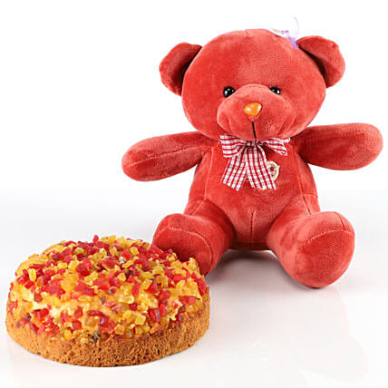 Dry Cake & Red Teddy Bear Combo: Cakes Combo
