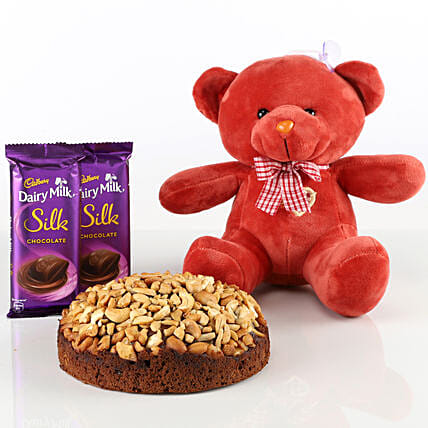 Dry Cake With Teddy Bear & Chocolates Combo: Cake Combos
