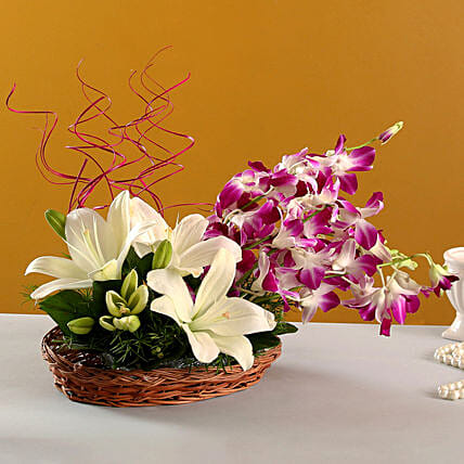 Lilies And Orchids Basket Arrangement: Basket Arrangements