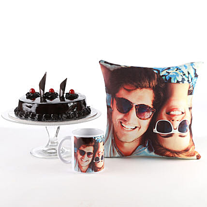 Photo Cushion, Mug & Cake Combo: Personalised Mugs