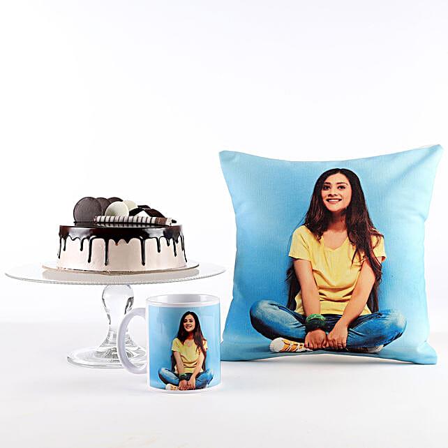 Photo Cushion, Mug & Cake Combo: Custom Photo Coffee Mugs
