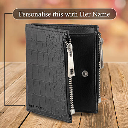 Black Zipper Wallet Pouch: