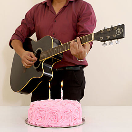 Romantic Tunes & Floral Chocolate Cake Combo: Gifts N Guitarist Service