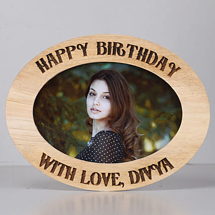 Personalised Oval Photo Frame-Birthday: