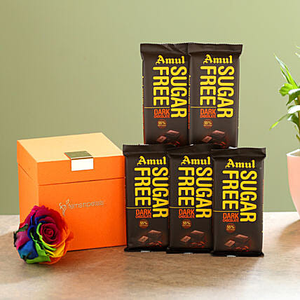 Forever Rainbow Rose & Sugar Free Amul Chocolates: Buy Flowers Combo