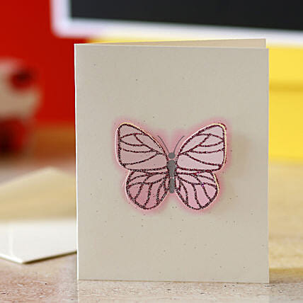 Pink Butterfly Greeting Card: Gift for Girlfriend Day