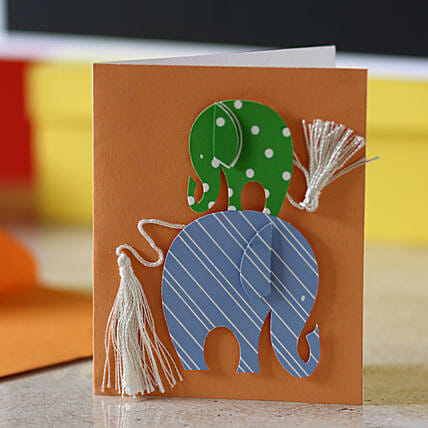 Tassel Tail Elephant Greeting Card: Girlfriends Day Gifts