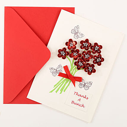 Thank You Red Bouquet Greeting Card: Gifts for Daughters Day