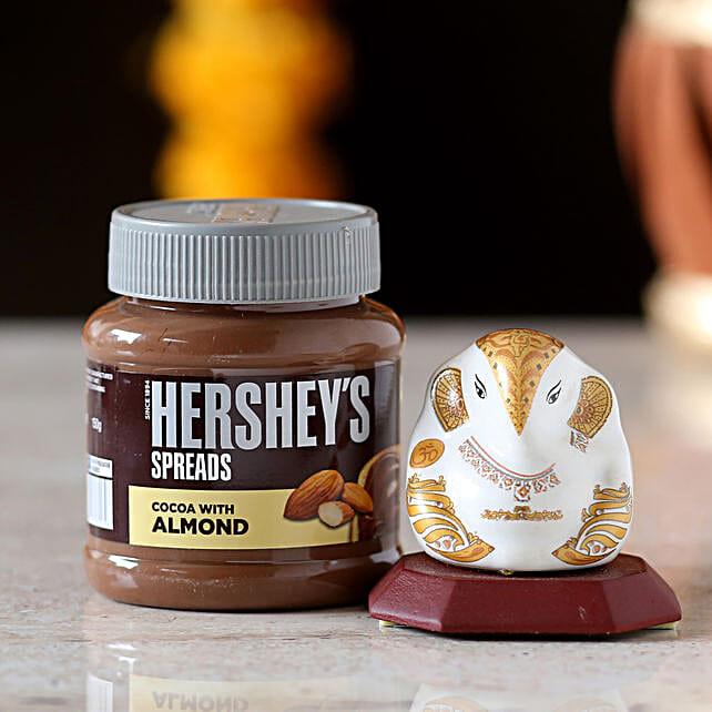 Ceramic Ganesha Idol & Hershey's Spread: Send Hersheys Chocolates