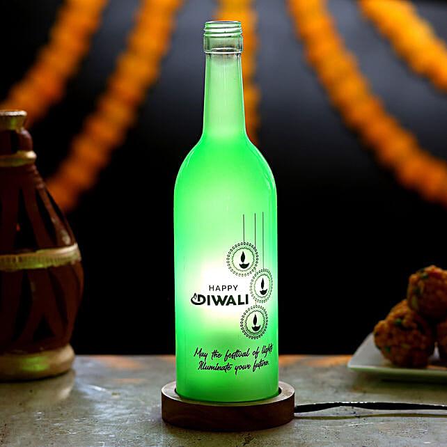 Diwali Wishes Bottle Lamp: Send Diwali Gifts for Parents