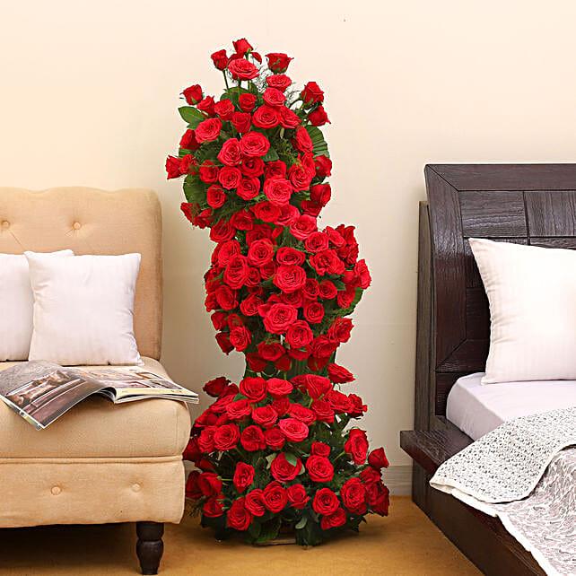 Premium 100 Red Roses Arrangement: Anniversary Flowers