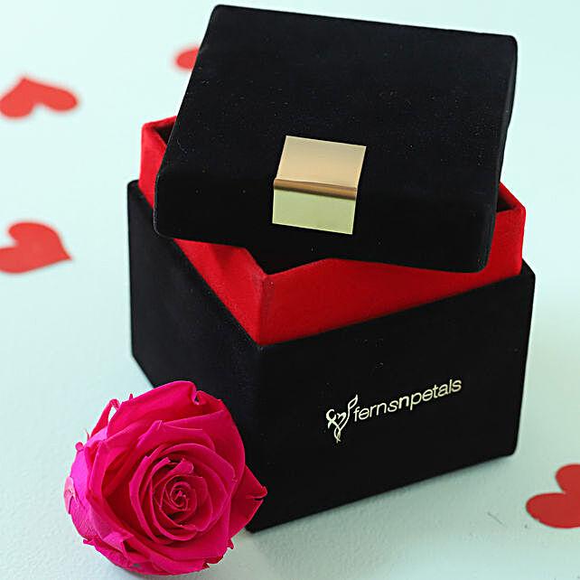 Hot Pink Forever Rose in Velvet Box: